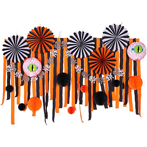 SUNBEAUTY Halloween Decorations Kit Paper Fans Crepe Paper Streamers Black Orange Paper Honeycomb Balls Skeleton Banner for Home Halloween Party Backdrop Decoration 28Pieces