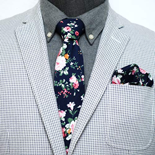 Squares Tie (Mens Casual Skinny Floral Cotton Tie Combo Set with Flower Pocket Square TC076)