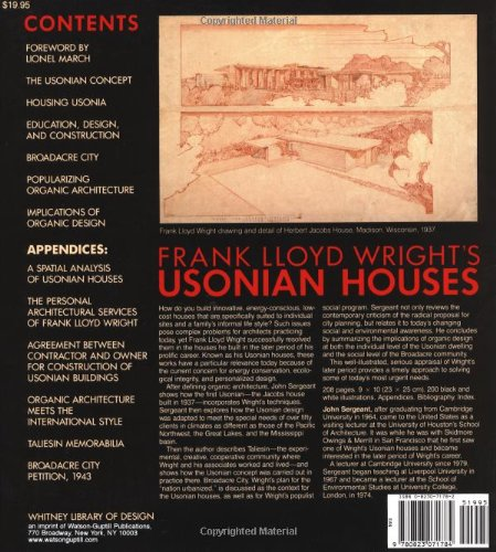 Frank Lloyd Wrightu0027s Usonian Houses: Designs For Moderate Cost One Family  Homes: John Sergeant: 9780823071784: Amazon.com: Books
