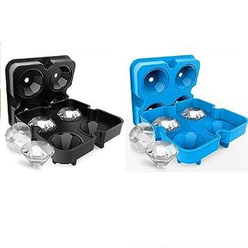 4 paquetes de moldes para hacer hielo con forma de diamante, bandeja de silicona flexible de grado alimenticio para whisky o bebida 2 Black+2blue: ...