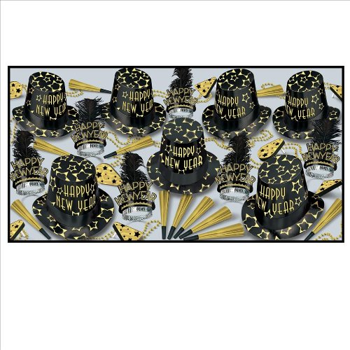 Black Gold New Years Eve Party Kit For 50 by Beistle