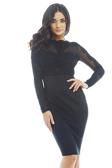 Amazon.com: AX Paris Women's Lace Detail Long Sleeved Bodycon ...