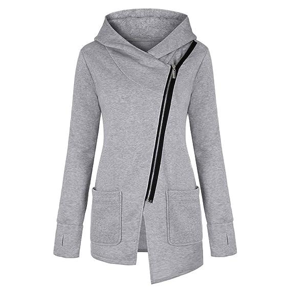 Moonuy Manteau des Femmes d'automne, Moonuy Womens Plus Taille Garder Chaud col à Long Manteau épais Sweat Zip Long Pull Couleur Unie Slim Fit