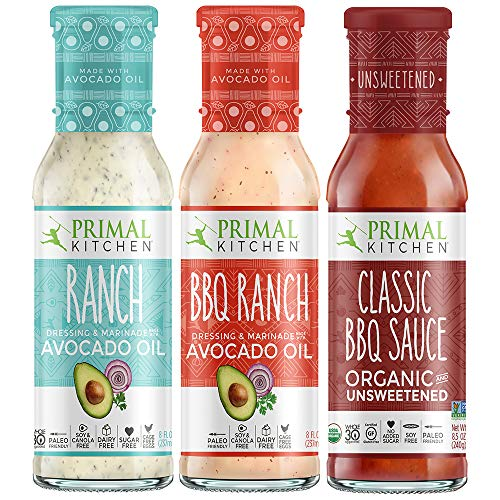 (Primal Kitchen Master Ranch Dressing & BBQ Sauce 3 Pack - Avocado Oil Classic Ranch Dressing, Avocado Oil BBQ Ranch Dressing, and Classic BBQ Sauce)