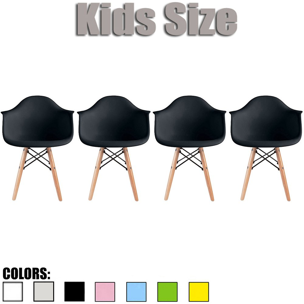2xhome - Set of Four (4) - Black - Kids Size Eames Armchairs Eames Chairs Black Seat Natural Wood Wooden Legs Eiffel Childrens Room Chairs Molded Plastic Seat Dowel Leg…