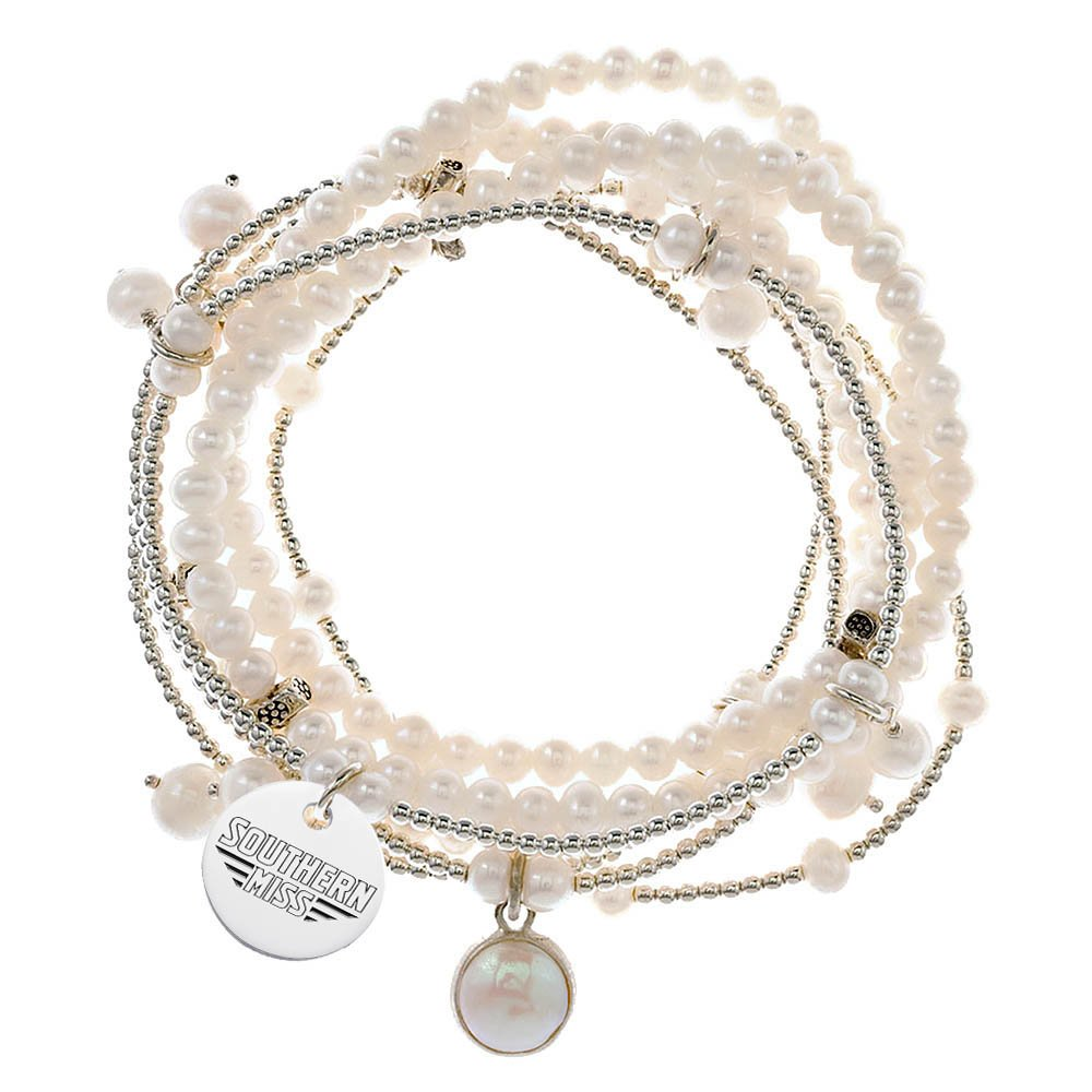 Southern Mississippi Eagles 7 Strand Freshwater Pearl and Silver Bracelet