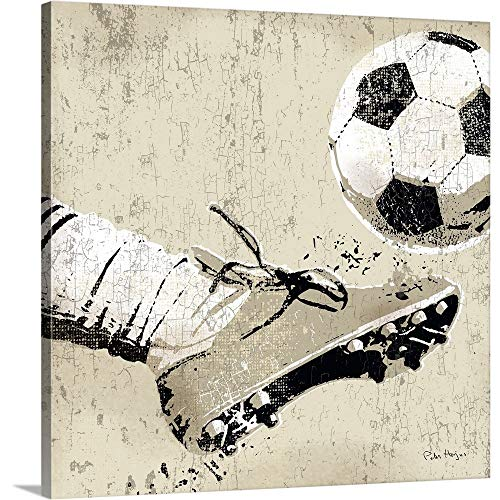 Vintage Soccer Strike Canvas Wall Art Print, 24 x24 x1.25