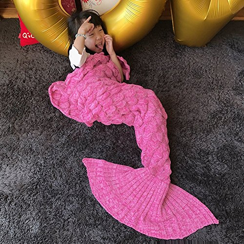 Costumes Power Rangers Ranger Pink Deluxe Adult (Handmade Mermaid Tail Blanket Crochet , Ibaby888 All Seasons Warm Knitted Bed Blanket Sofa Quilt Living Room Sleeping Bag for Kids and Adults (Kids / 55.1