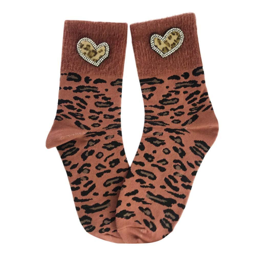 VJGOAL Mujer Invierno Moda Casual Estilo Mid Tube Leopardo Estampado Amor corazón Transpirable suave algodón calcetines(Un tamaño, Amarillo): Amazon.es: ...