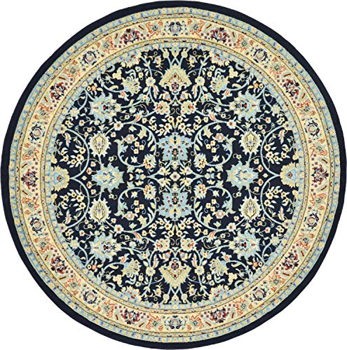 Kashan Navy Area Rug - Unique Loom Kashan Collection Traditional Floral Navy Blue Home Décor Round Rug (8' x 8')