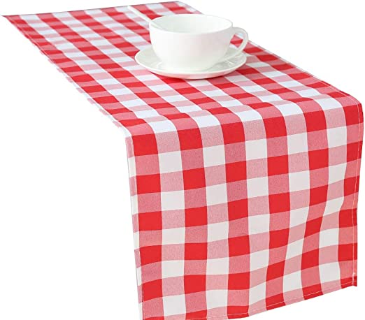 """13/"""" x 90/"""" CHECKER PATTERN TABLE RUNNERS RED AND WHITE CHECKERED TABLE RUNNER"""