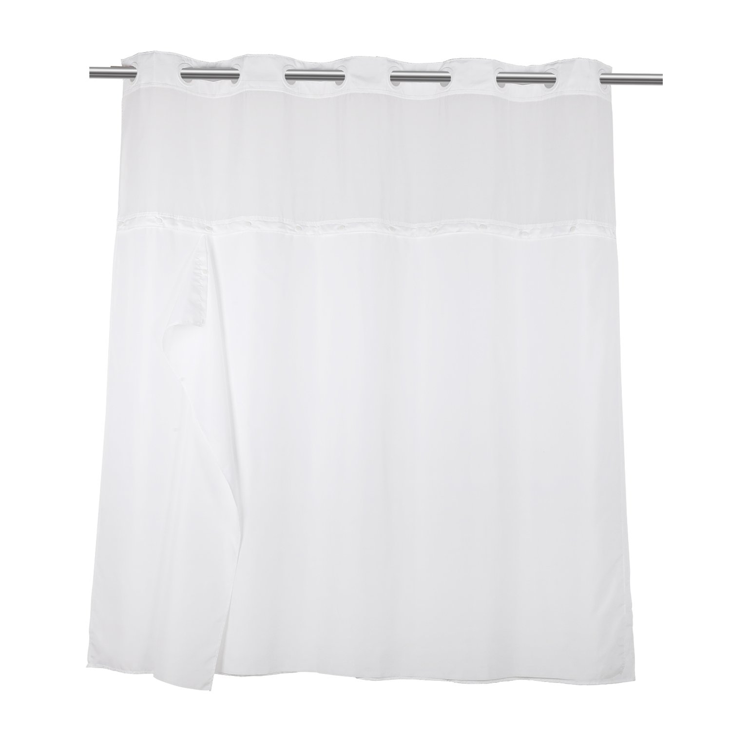 Hookless Shower Curtain with Removed Fabric Inner Liner 70.8 x 74 Inch Polyester Bath Curtain with Light-Filtering Mesh Screen Anti Mildew White