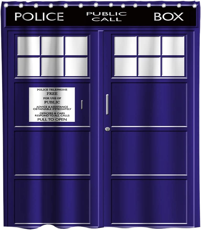 Doctor Who Tardis Police Box Theme Fabric Shower Curtain Sets Bathroom Decor with Hooks Waterproof Washable 72 x 72 inches Navy