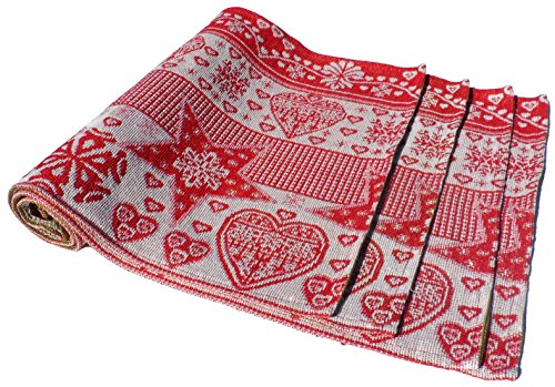 Holiday Stars & Hearts Christmas Tapestry Place Mats - Set of 4 - Machine Washable Designs - 13 x 19 Inches (Heart Tapestry)