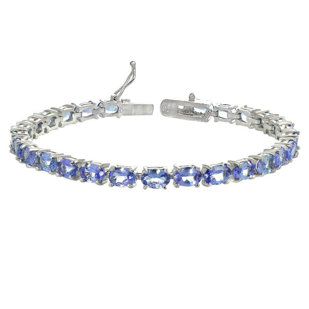 Sterling Silver Genuine Tanzanite Oval-cut Tennis Bracelet