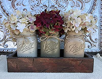 Mason Canning JARS in Wood Antique RED Tray Centerpiece with 3 Ball Pint Jar - Kitchen Table Decor - Distressed Rustic - Hydrangea Flowers (Optional) - THISTLE, PEWTER, COFFEE Painted Jars (Pictured)
