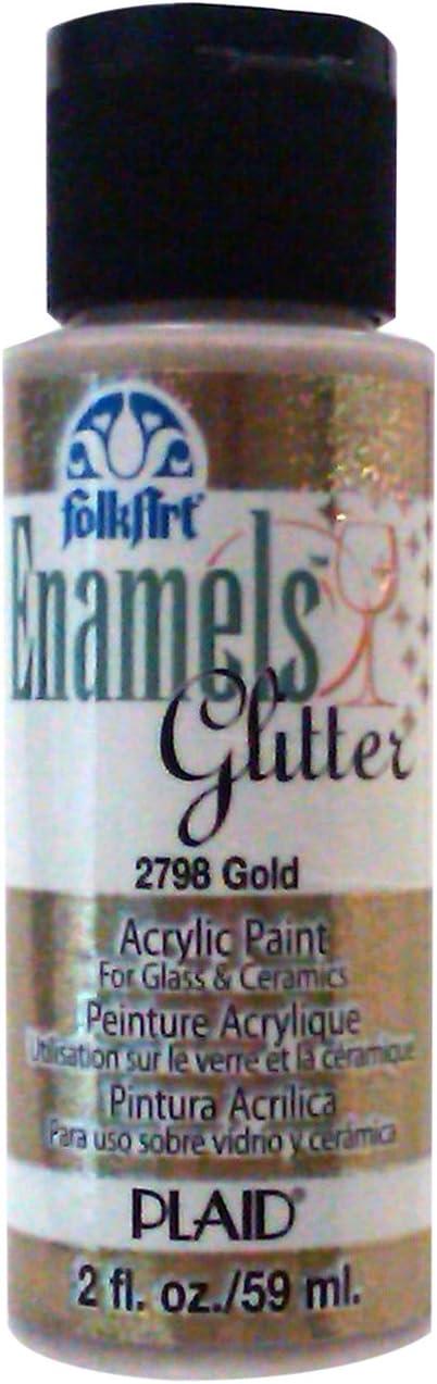 FolkArt Enamel Glitter and Metallic Paint in Assorted Colors (2 oz), 2798, Glitter Gold