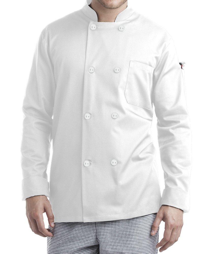 ChefUniforms.com Men's Long Sleeve Chef Coat (XS-5X, 2 Colors) (X-Large, White)