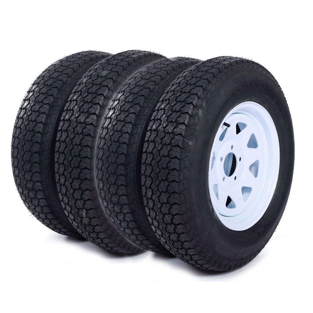 15'' White Spoke Trailer Wheel with Bias ST205/75D15 Tire Mounted (5x4.5) bolt circle, Set of 4(Come with Car Sunlight Snow Shield Matte Black)