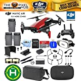 DJI Mavic Air Fly More Combo (Flame Red) 3 Battery Pro Accessory Bundle With 64GB Sandisk Memory Card, VR Glasses, Landing Pad, Range Extender Plus More (3 Batteries Total)