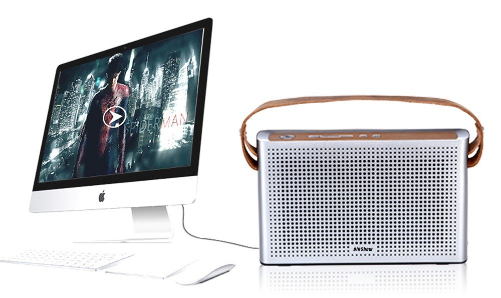 PINSHOW Goldentime Cowhide Strap Portable Bluetooth 4.0 Wireless Speaker Support Power Bank Function (golden) by PINSHOW (Image #5)