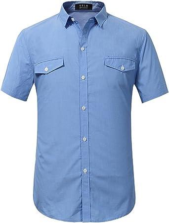 SSLR Camisas Hombre Manga Corta Estilo Básica Algodón Puro Straight Fit (Medium, Azul): Amazon.es: Ropa y accesorios