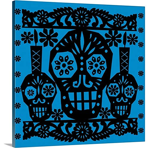 Gallery-Wrapped Canvas Entitled Happy Skulls Papel picado 1 by Luis Fitch 35