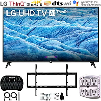 """LG 70UM7370PUA 70"""" 4K HDR Smart LED IPS TV w/AI ThinQ (2019) + Flat Wall Mount Ultimate Bundle + 2.4GHz Wireless Keyboard Smart Remote w/Touchpad + 6-Outlet Surge Adapter w/Night Light"""