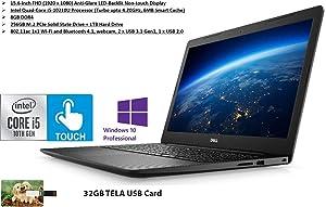 2020 Newest Dell Vostro 15 3590 15.6 FHD Non-Touch Display, 10th Gen Intel 4-Core i5 CPU, 8GB Ram, 256GB SSD, 1TB HDD, WiFi, Bluetooth, Webcam, MaxxAudio, HDMI, Win10, Black | 32GB Tela USB Card