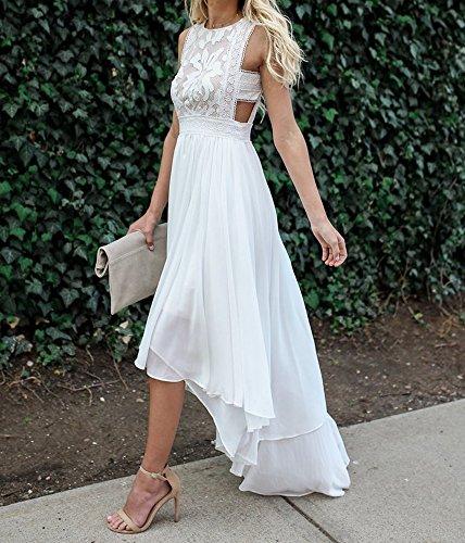 Low Waist Wedding Gowns: FISACE Women's Sleeveless Cut Out Waist Lace Patchwork
