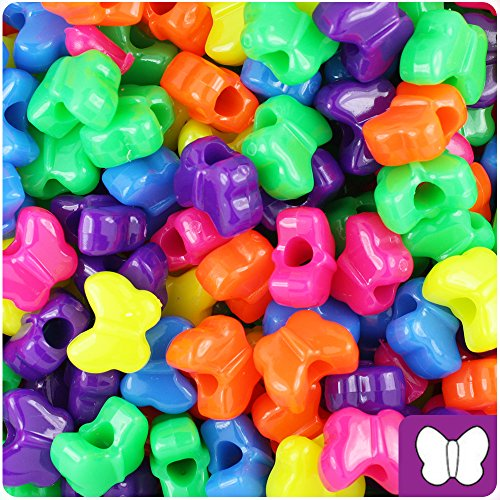Butterfly Plastic Beads - BEADTIN Mixed Colors Neon Bright 13mm Butterfly Pony Beads (250pc)