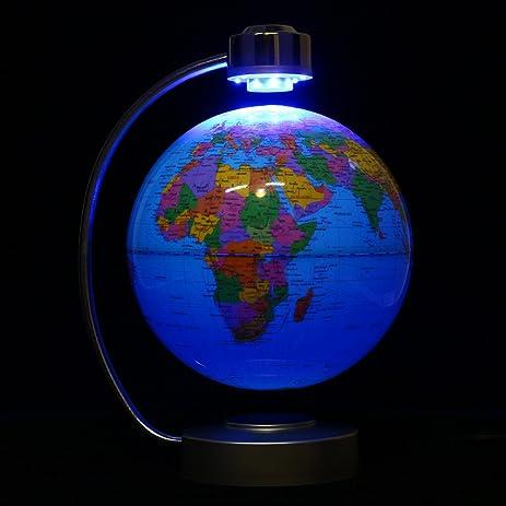 Amazon floating globe with led lights world map globe 8 floating globe with led lights world map globe 8quot rotating magnetic levitation globe blue gumiabroncs Image collections