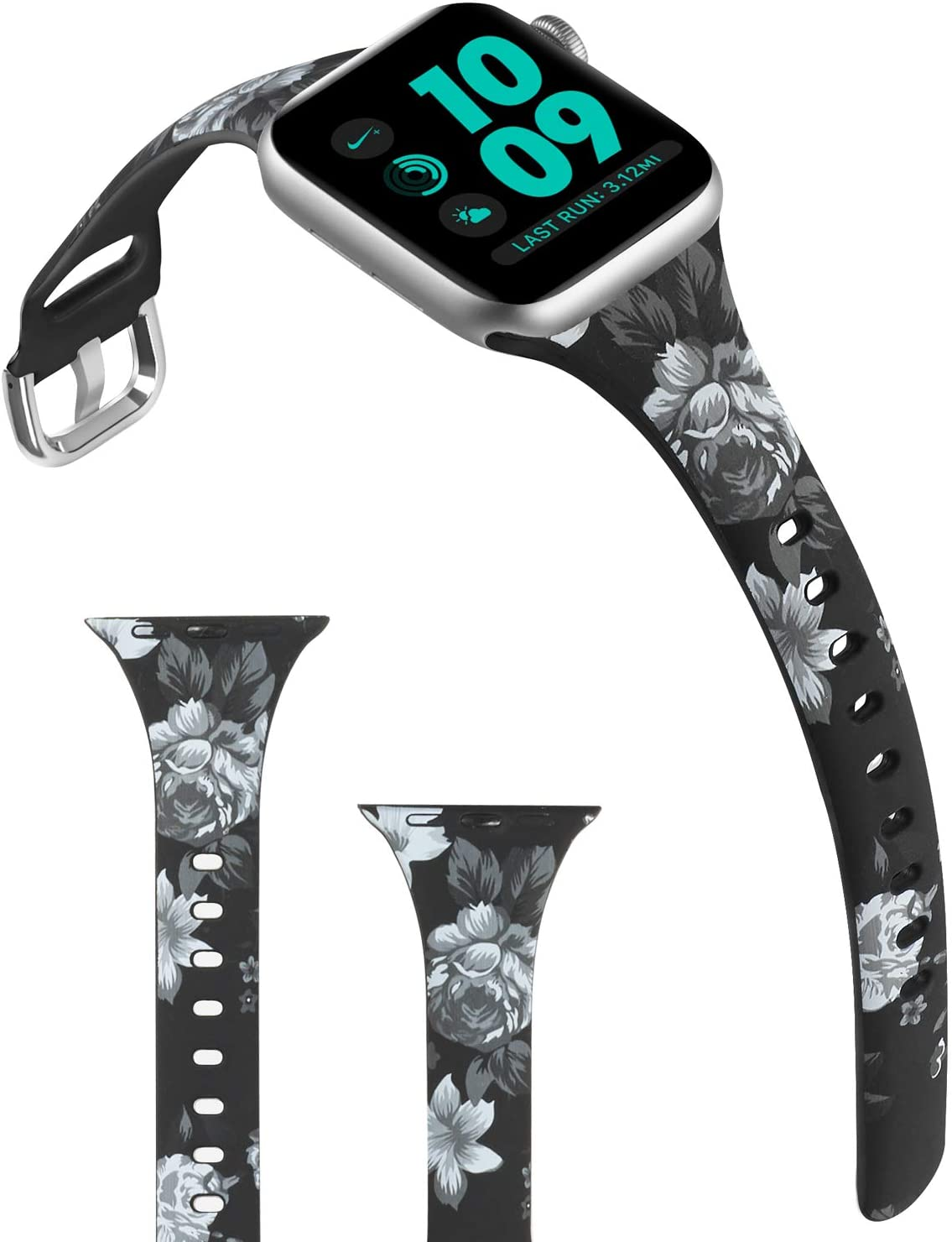 ACBEE Compatible with Apple Watch Band 38mm 40mm 42mm 44mm for Women Small Large, Slim Narrow Floral Bands for Apple Watch Series 5/Series 4/Series 3/Series 2/Series 1 (Gray Flowers, 42mm/44mm)
