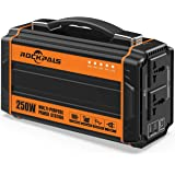 Rockpals 250-Watt Portable Generator Rechargeable Lithium Battery Pack Solar Generator with 110V AC Outlet, 12V Car, USB…