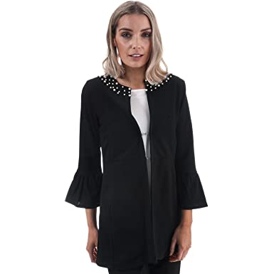 39a5d5a4801f4 Mela London Womens Womens Pearl Detail Flute Sleeve Jacket in Black - 14   Mela London  Amazon.co.uk  Clothing