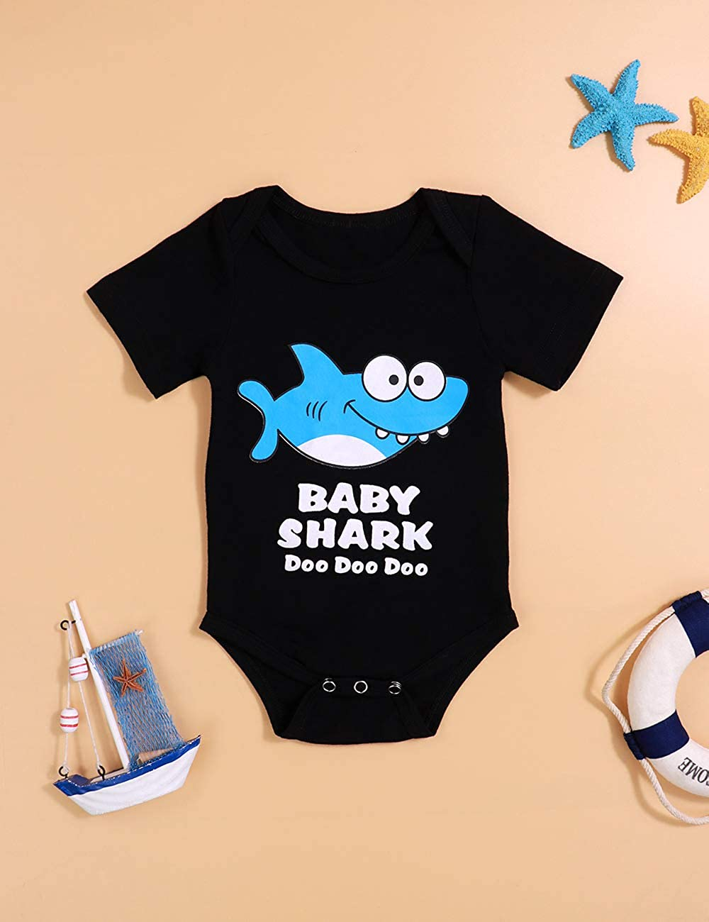 646acc912 Amazon.com: Toddler Boys Girls Clothes Baby Shark Doo Doo Romper Newborn  Bodysuit Short Sleeve Onesies for Infant(9-12Mmonths/size100) Black:  Clothing
