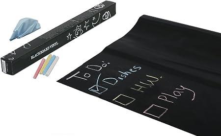 TRIXES 2 X Pizarra Negra Extraíble Adhesiva con 5 Tizas Auto-Adhesivas - Pizarra Pegatinas - Lámina de Pizarra Flexible Adhesivo - Adhesiva de Pared Negra para Casa, Escuela o Oficina: Amazon.es: Hogar
