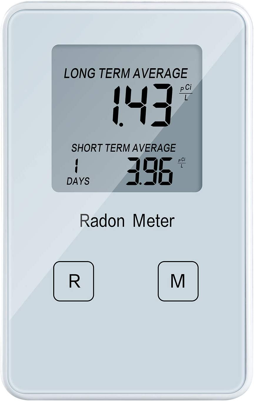 Portable Radon Meter, Radon Detector for Home, Long and Short Term Monitor, Rechargeable Battery-Powered, Radon Test Kit
