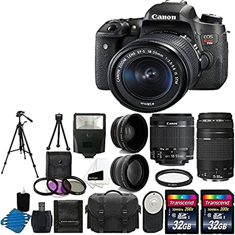 Canon EOS Rebel T6s 24.2MP Digital SLR Camera USA warranty with Canon EF-S 18-55mm f/3.5-5.6 IS STM [Image Stabilizer] Zoom Lens & Canon EF 75-300mm f/4-5.6 III Telephoto Zoom Lens + 58mm 2x Professional Lens +High Definition 58mm Wide Angle Lens + Auto Power Flash + UV Filter Kit with 64GB And More Complete Deluxe Accessory - Canon Digital Rebel Kit