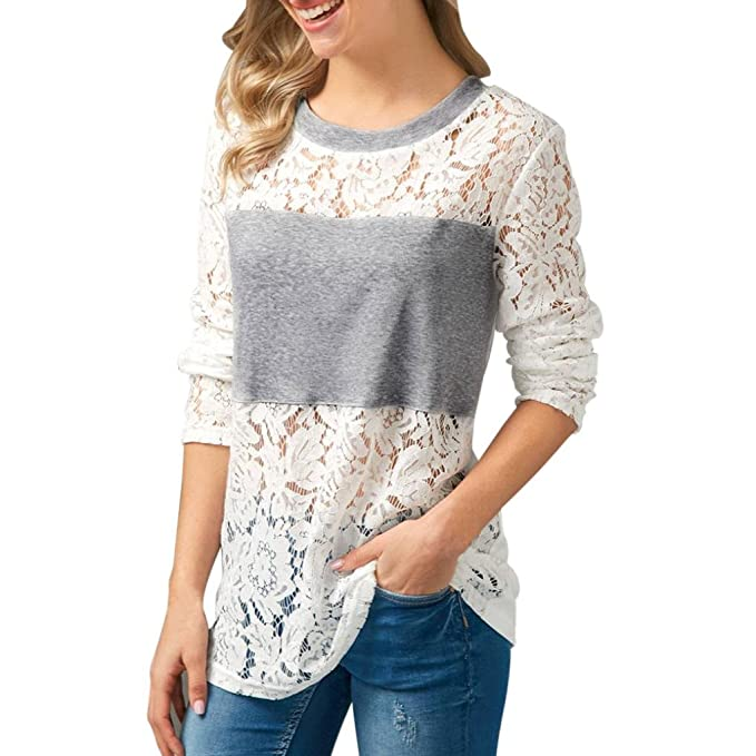 1e50d078c9 KaloryWee Womens Ladies Sexy Long Sleeve Crewneck Lace T-Shirt Top Casual  Hollow Out Shoulder