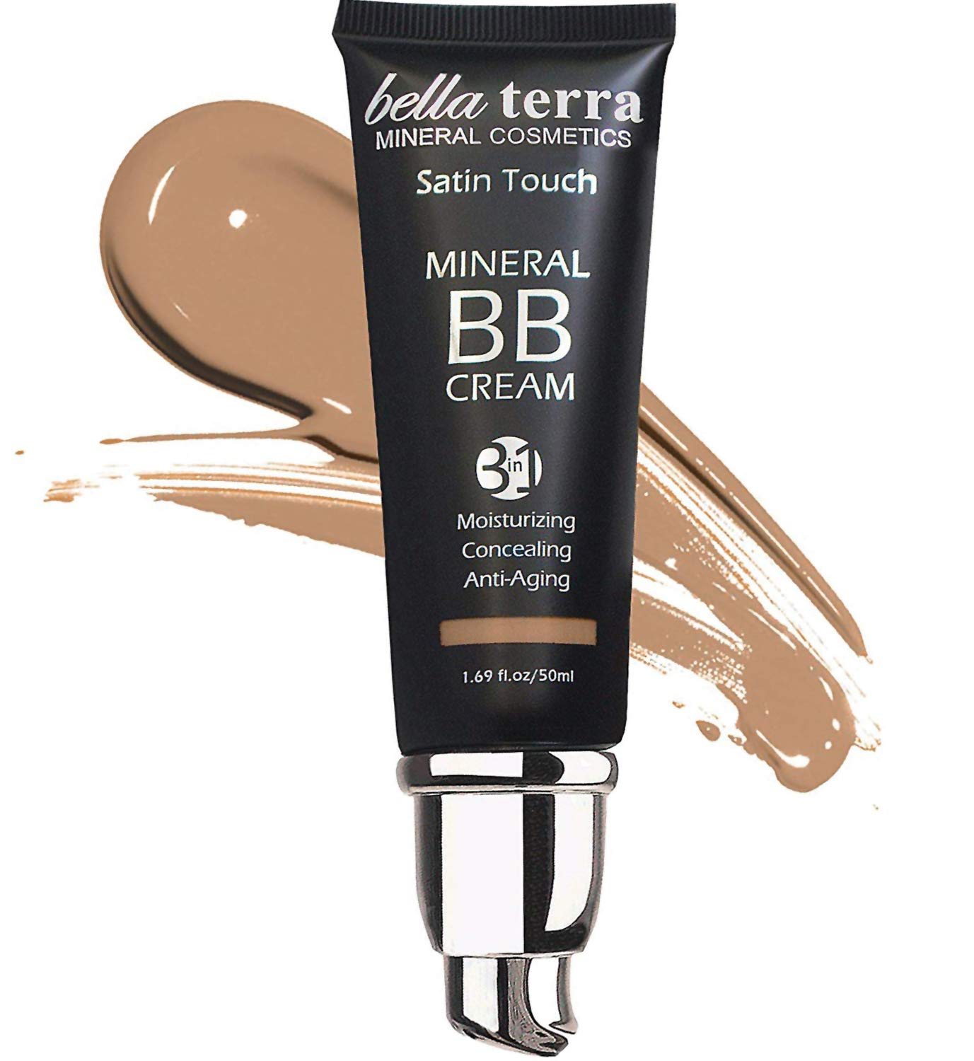 Bellaterra Cosmetics BB Cream Tinted Moisturizer, Mineral Foundation, Concealer, Anti-Aging, Natural Sun Protection, All Shades 1.69oz – Medium Tan 105