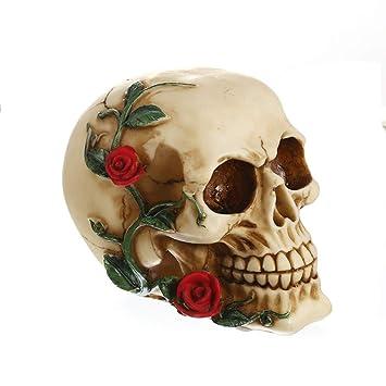 Amazon.com: XOBULLO Resin Skeleton Head Rose Skull Statue ...