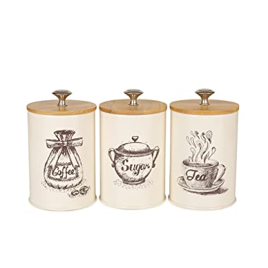 Hot Sale X023S Set of 3 Metal Food Storage Tin Canister/Jar with Bamboo Lid (Cream white)