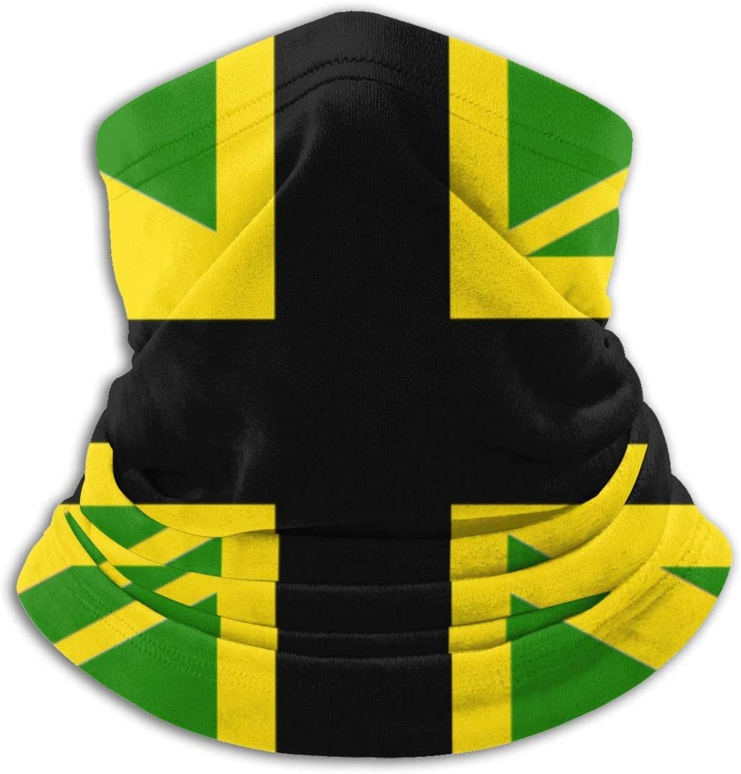 Jamaican UK Flag Neck Warmer Gaiter Windproof Mouth Face Scarf Black