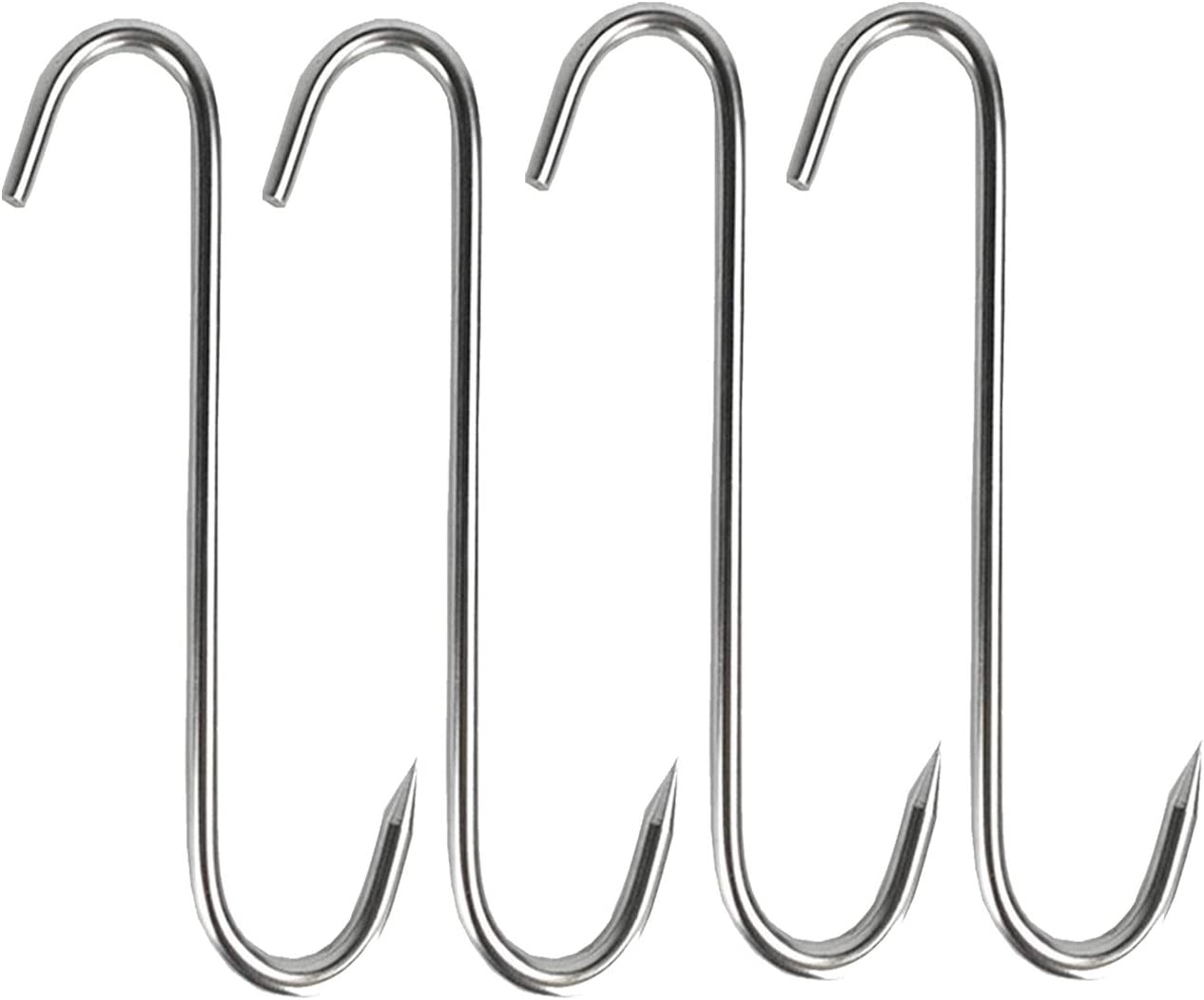 TinaWood 4 PCS 5.1 Inch Meat Hooks S-Hook Stainless Steel Meat Processing Butcher Hook Pot Hooks for Bacon Hams Meat Processing Butcher Hook Hanging Drying BBQ Grill Cooking