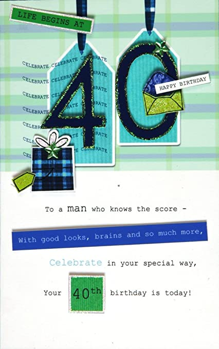 Amazon com : 40th Male Happy Birthday Greeting Card Second