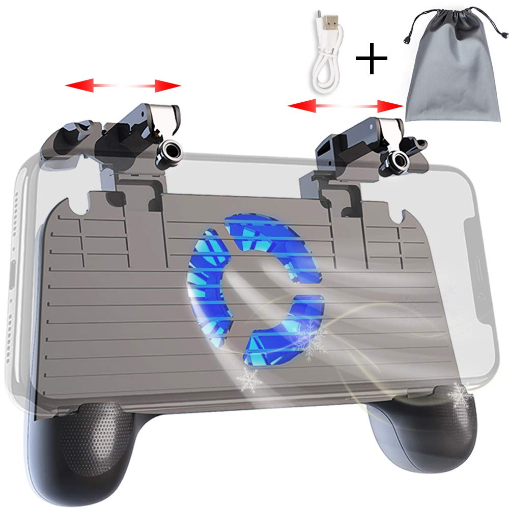 Mobile Controller with Power Bank Cooling Fan for Fortnite PUBG, Mobile Controller L1R1 Game Trigger Joystick Gamepad Grip Remote for 4-6.5'' Android iOS Phone【Latest Version Blue Light 4000mAh】