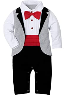 d8f550230 WESIDOM Baby Boy Suit Tuxedo Outfits Set,Toddler Gentlemen Rompers Formal  Wear Jumpsuit Onesie(