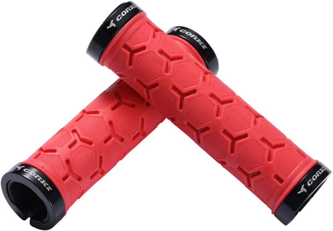 corki Mountain Bike Grips Lock On,Anti-Slip Shock Absorbing Bike Handlebar Grips
