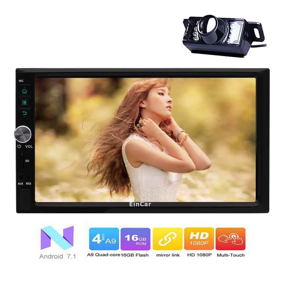 EinCar Android 7.1 Quad Core Car Stereo 7'' HD Touch Screen GPS Navigation Double 2 Din Car Radio Multimedia Player Support 1080P Bluetooth WiFi OBD2 Mirrorlink with Backup Camera External Microphone B076H2GYGM